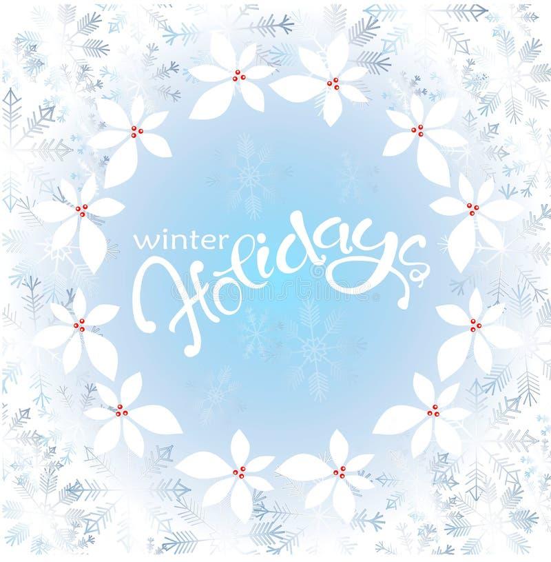 Frost на окне, голубые снежинки, падуб, помечая буквами зимние отдыхи на голубой предпосылке иллюстрация штока