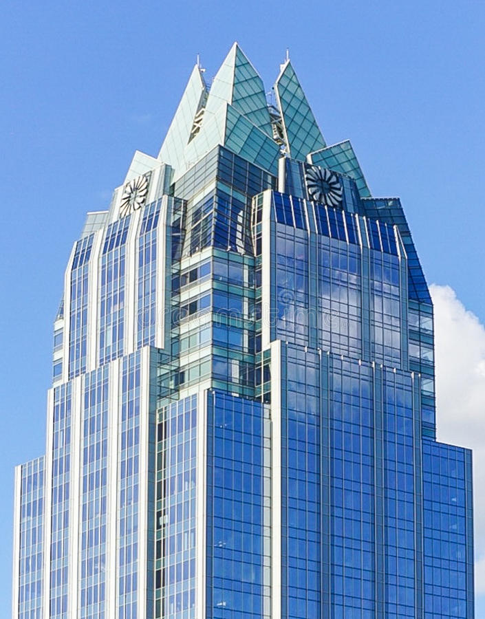 The Frost Bank Tower Skyscraper in downtown Austin Texas. The Frost Bank Tower `The Owl` Skyscraper building in downtown Austin, Texas royalty free stock photo