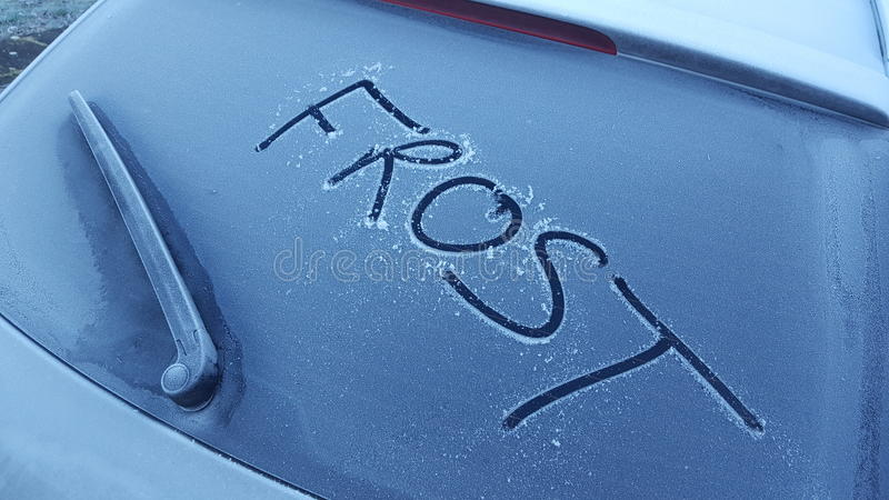 Frost on a car stock images