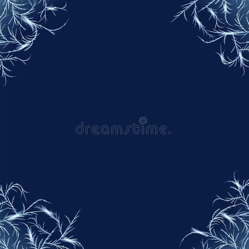 Frost corners overlay. Tangled patterns of ice crystals decoration elements stock illustration