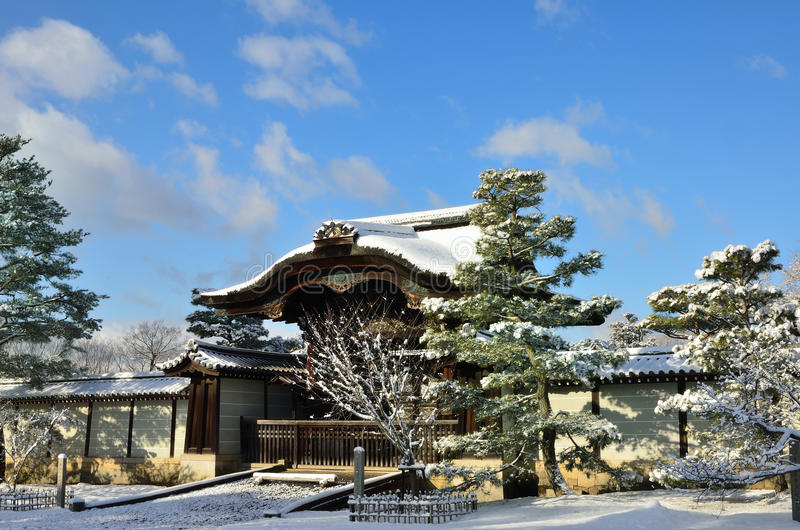 Frost covered Temple and blue sky, Kyoto Japan. After falling snow, frost covered Ninnaji Temple at morning, clear sky background. Kyoto Japan winter royalty free stock image
