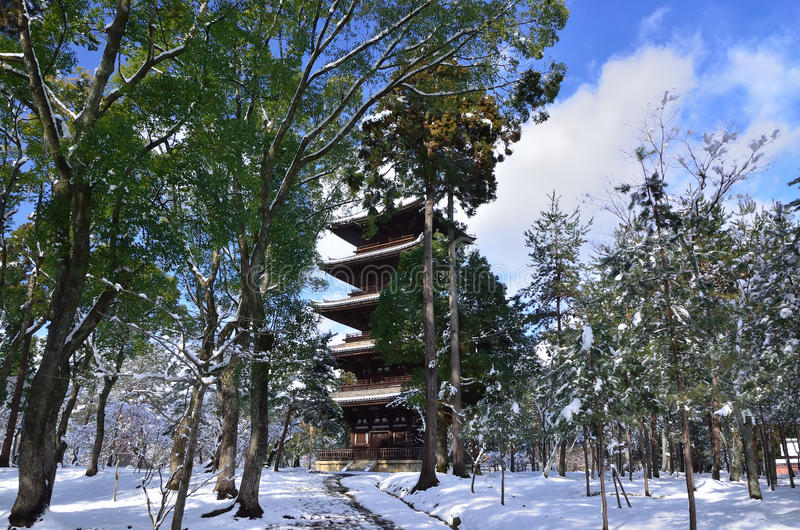 Frost covered temple, winter in Kyoto Japan. Seasonal picture of frost covered Buddhism temple Ninnaji in Kyoto Japan winter royalty free stock image