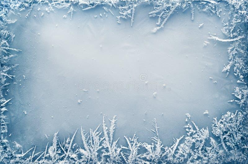 Frost Crystal Border en el hielo imagen de archivo