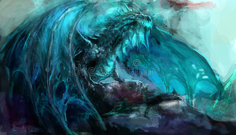 Frost dragon. Ancient undead frost dragon illustration