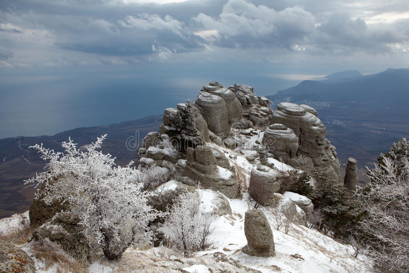 Frost, dunkelblauer Himmel stockfotos