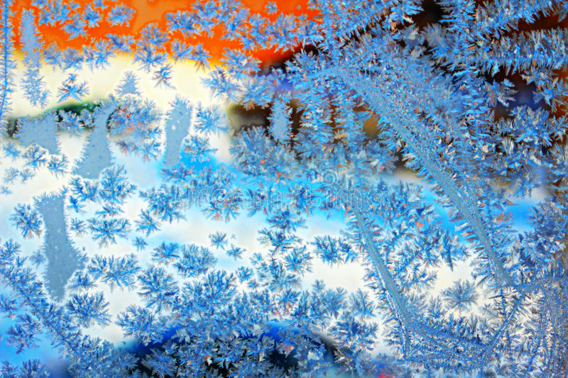 Frost Flowers Background. Ice on Window. Winter Background. Christmas Card. Abstract Winter Frosty Patterns on the Window stock images