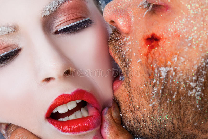 Frost kiss make-up royalty free stock images