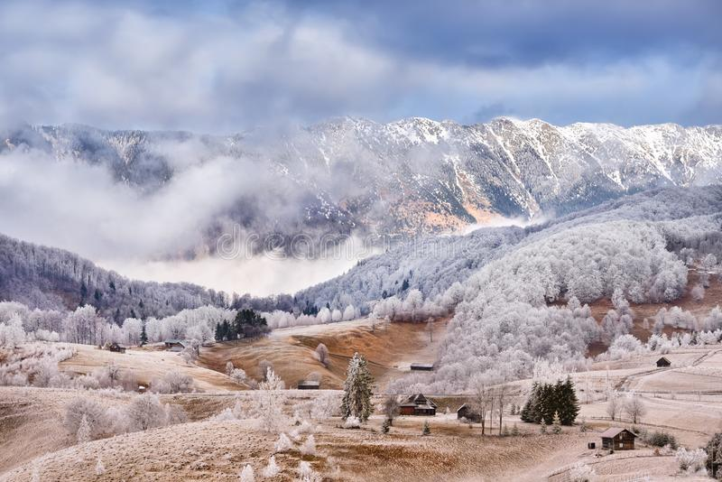 Frost land in the Carpathian Mountain and Transylvania village. White frost over trees in the winter time with clouds and sunny day royalty free stock photo