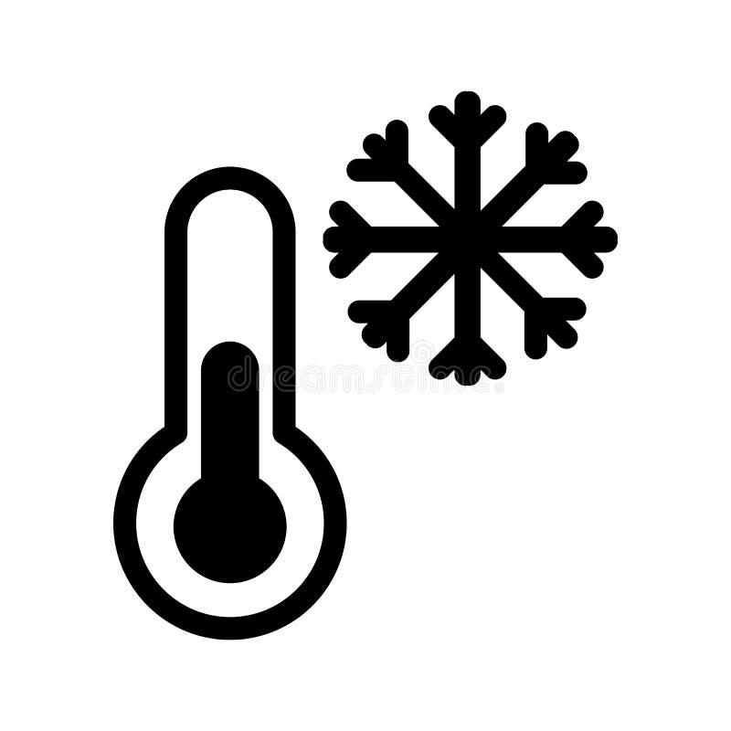 Frost- och termometervektorsymbol Svartvit låg themperatureillustration Fast linjär snösymbol royaltyfri illustrationer