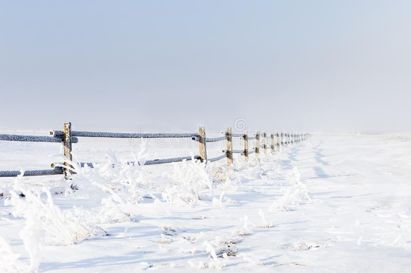 Frost and snow covered wooden fence in winter time. royalty free stock photo