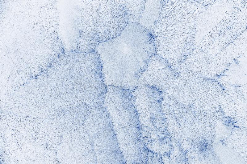 Frost texture.  Ice crystals frozen pattern. Blue winter Christmas abstract background royalty free stock photography