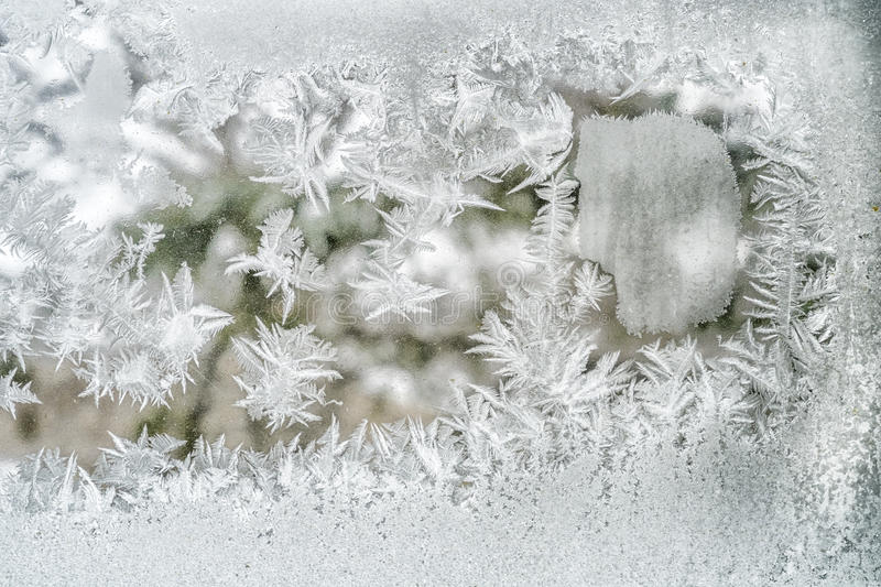 Frost. On a windows on a cold sunny day royalty free stock photo