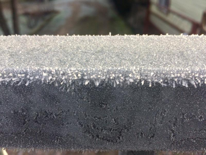 Frost on metall. Frost at winter on metallic fence stock photos