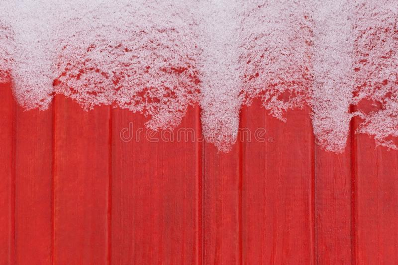 Frost on wooden wall stock photo
