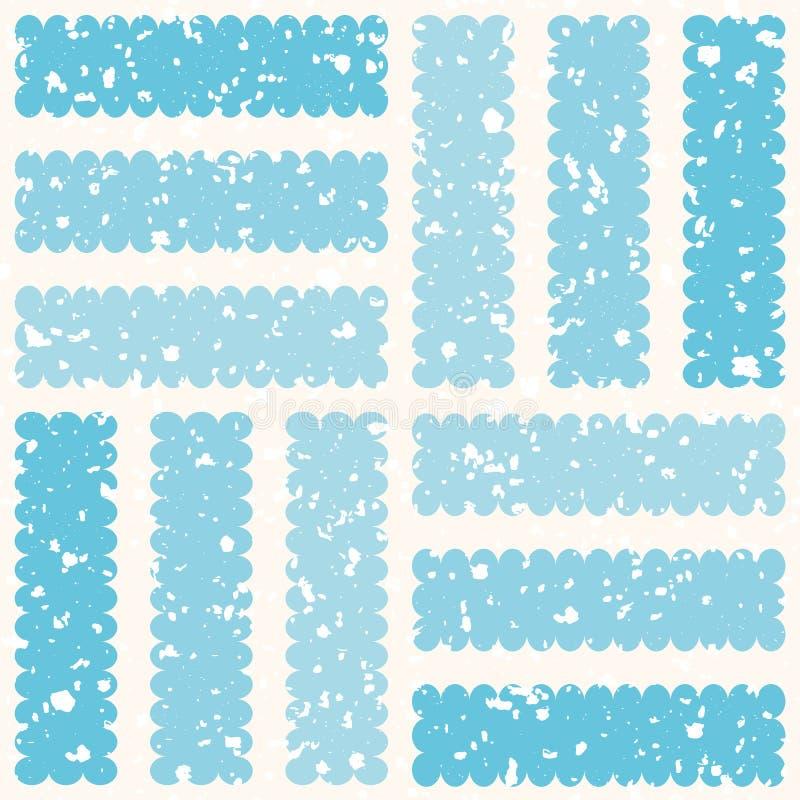 Frostad geometrisk design med vita ispartiklar och randiga fyrkanter Sömlös vintervektormodell på kräm stock illustrationer