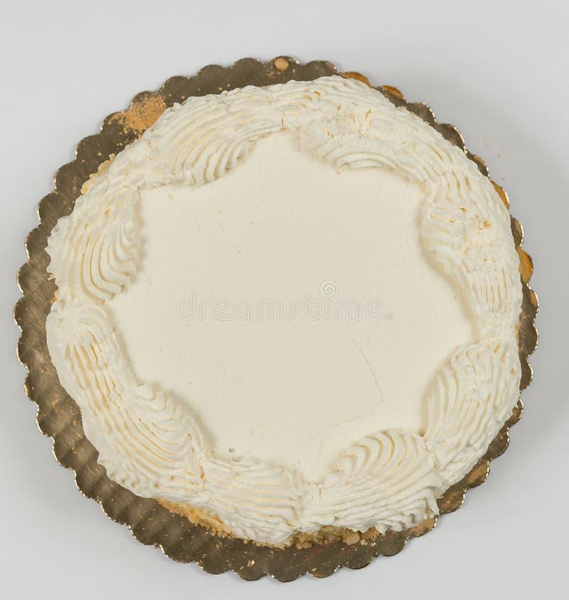 Frostad kaka från överkant med rum för att skriva arkivbilder