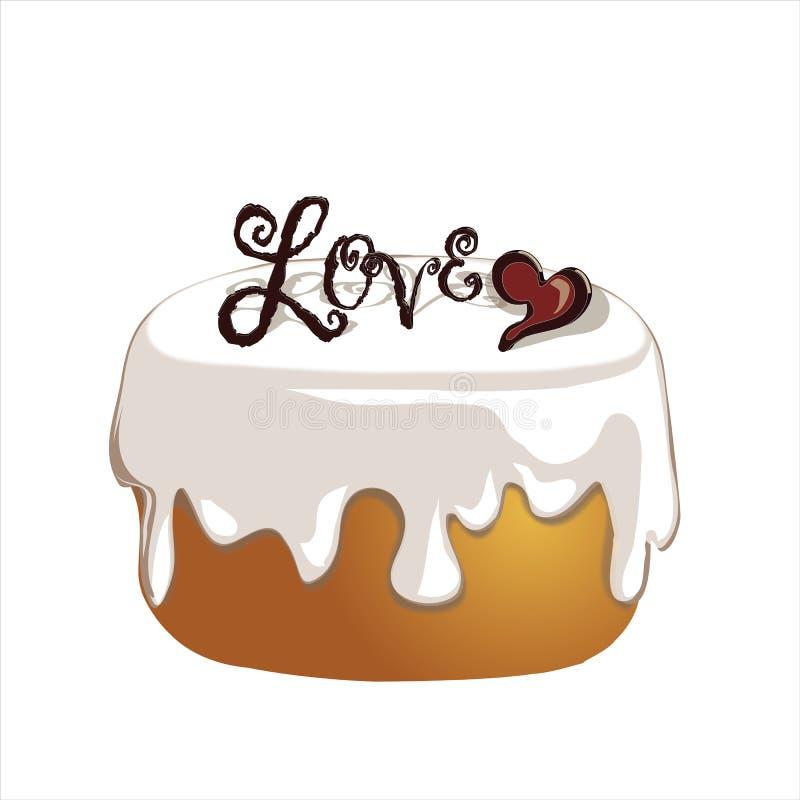 Frostad kaka som dekoreras med hjärta och meddelandet royaltyfri illustrationer