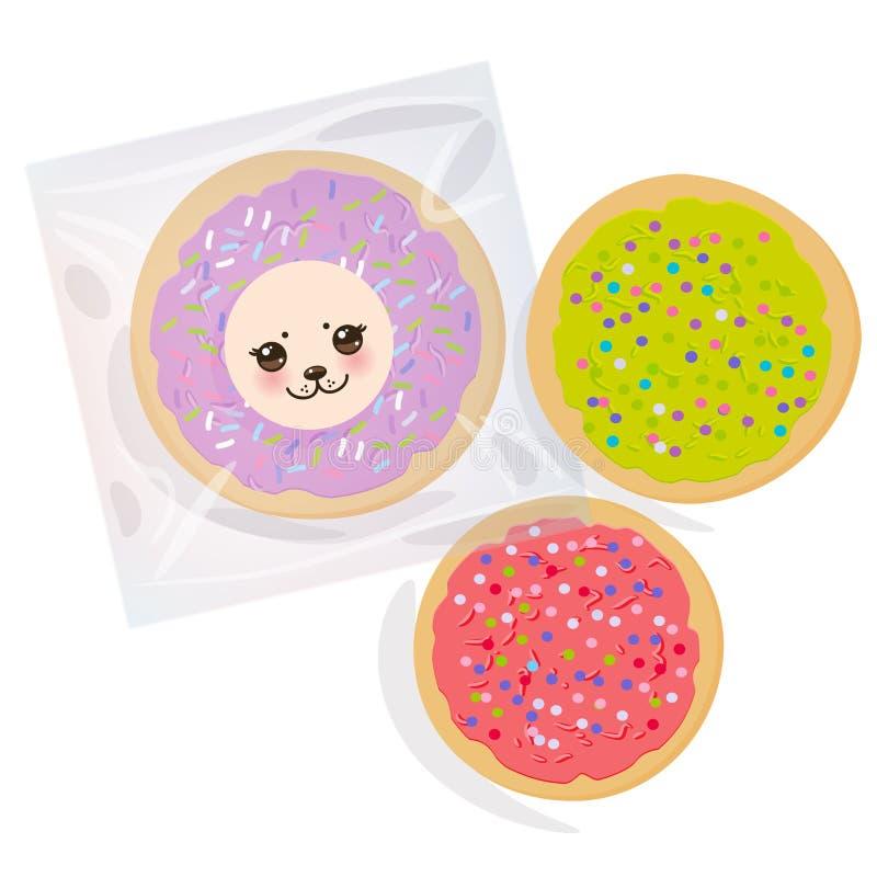 Frostade sockerkakor, ställde in bakade kexet för italienare det nytt i genomskinlig plast- packe med rosa violetgräsplanglasyr p royaltyfri illustrationer