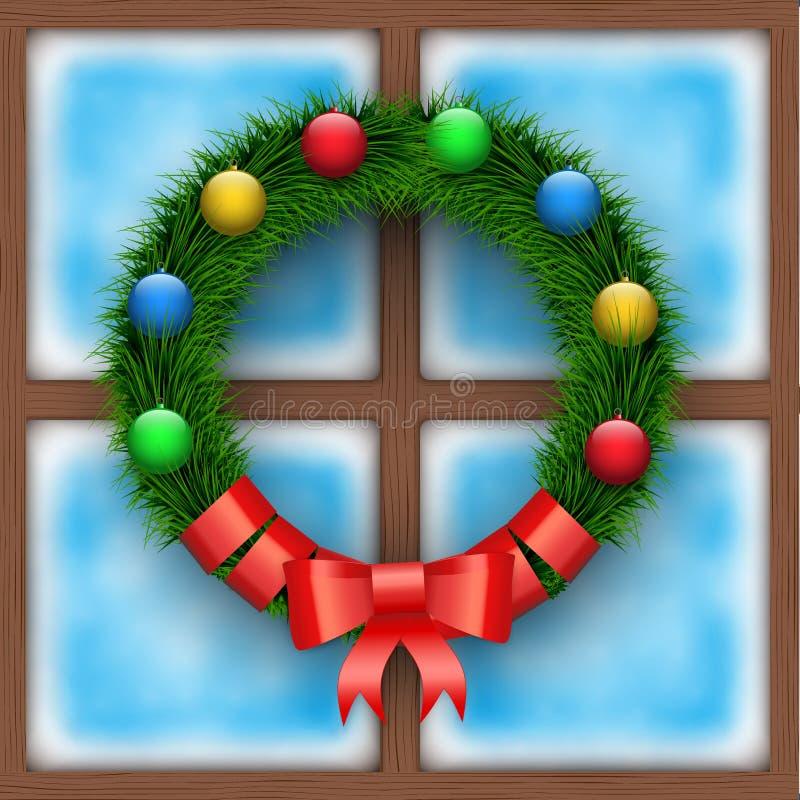 Frostat fönster med julkransen royaltyfri illustrationer