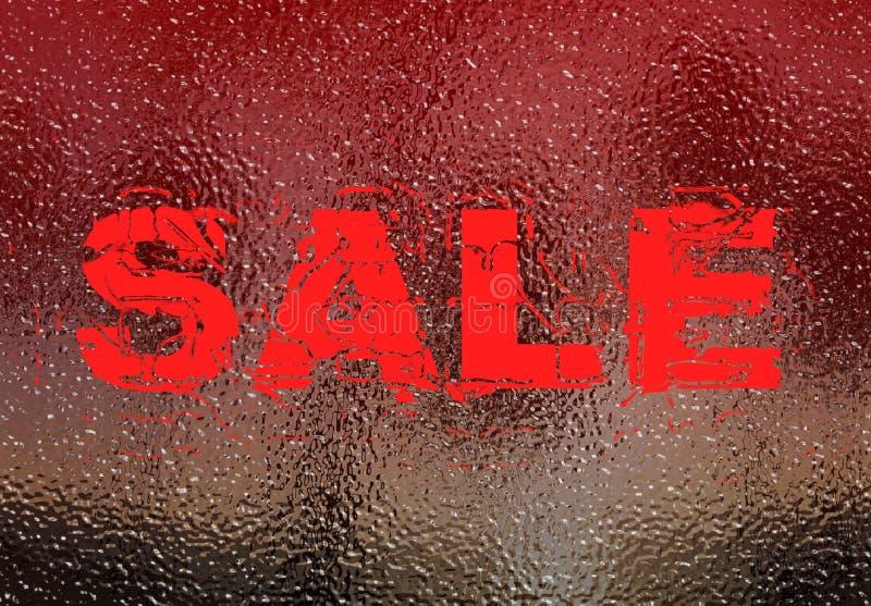 frostat försäljningsteckenfönster royaltyfri bild