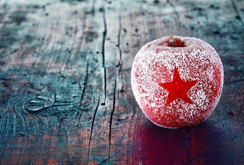 Frostat juläpple fotografering för bildbyråer