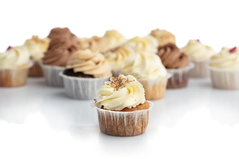 Frosted carrot cupcake in a close-up. stock images