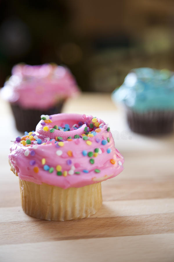 Frosted cupcakes stock image