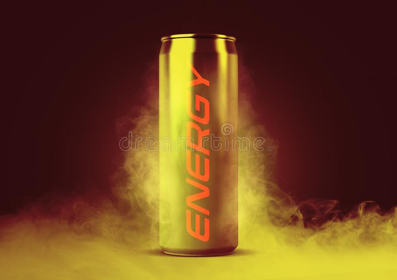 Frosted Energy Drink Can. A frosted smoking regular aluminum energy drink shaped tin can with the word energy written on it on an isolated white studio stock images