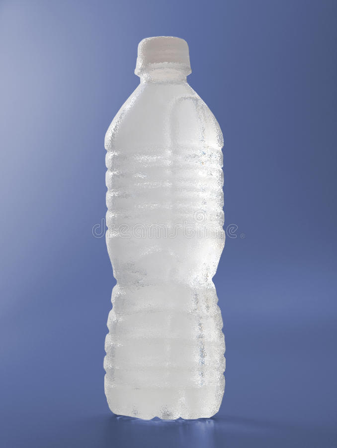 Download Frosted Water Bottle On Blue Stock Photo - Image: 11115470