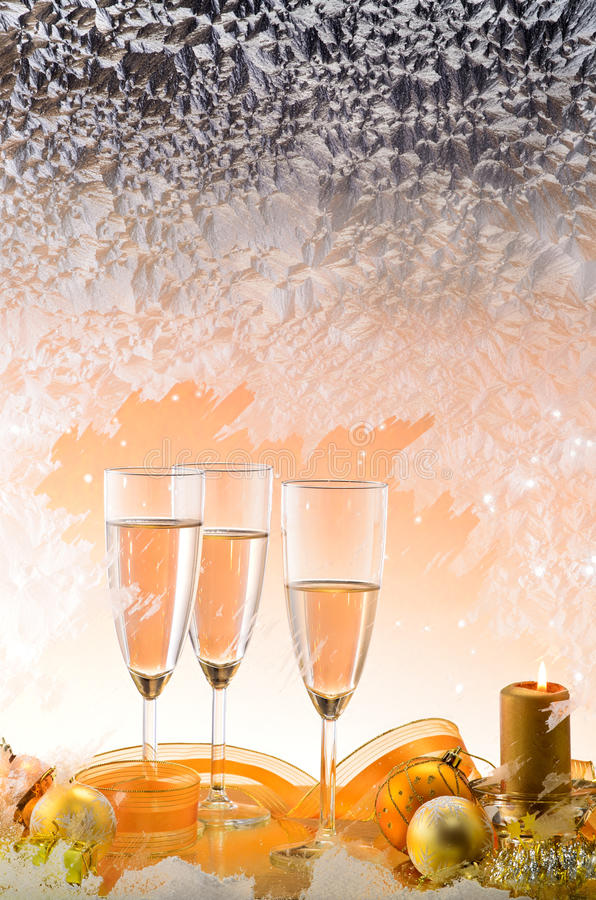 Download Frosted Window And Christmas Decoration Stock Photo - Image of cheers, ribbon: 22377164