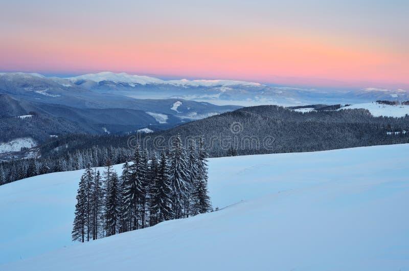 Frostig afton i bergen royaltyfri fotografi