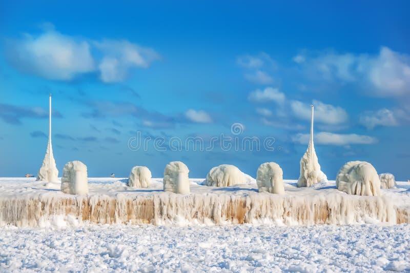 Frostig solig vintergryning royaltyfria bilder