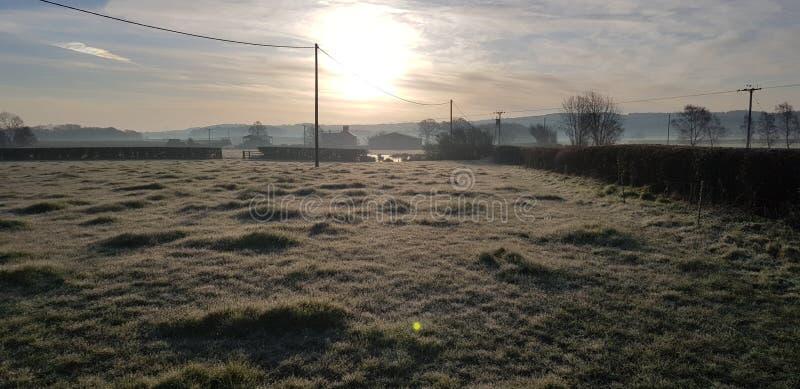 frostig soluppgång arkivfoton