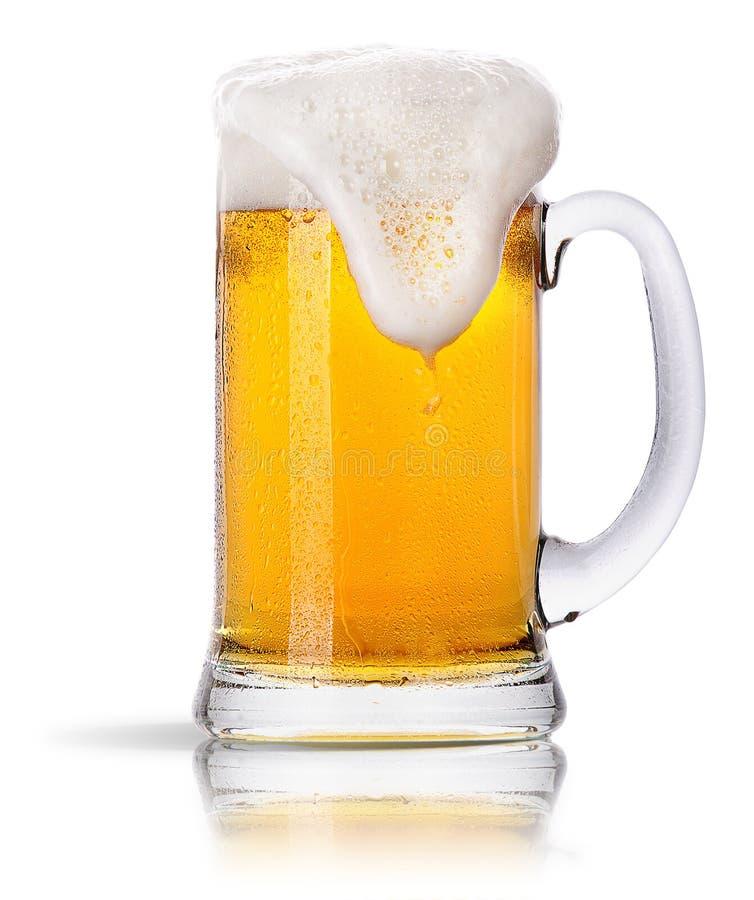 Frostigt exponeringsglas av uppsättningen för ljust öl  royaltyfria bilder