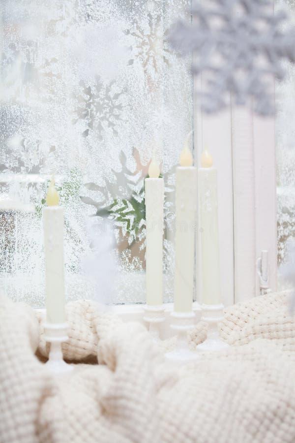 frostigt fönster arkivfoto
