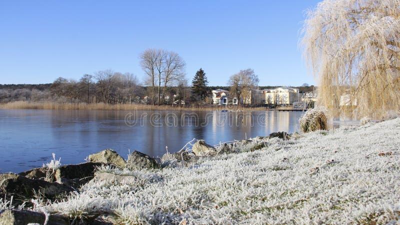 Frostiness im Winter mit blauem Himmel und kleinem See stockfotos