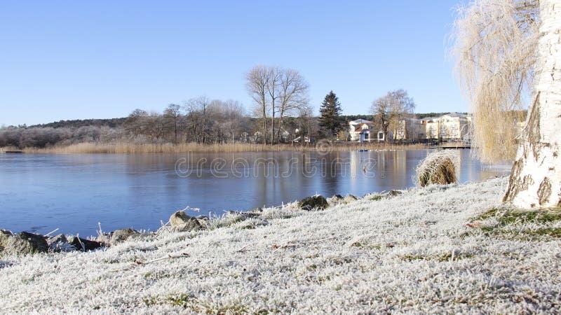Frostiness im Winter mit Natursee lizenzfreies stockbild