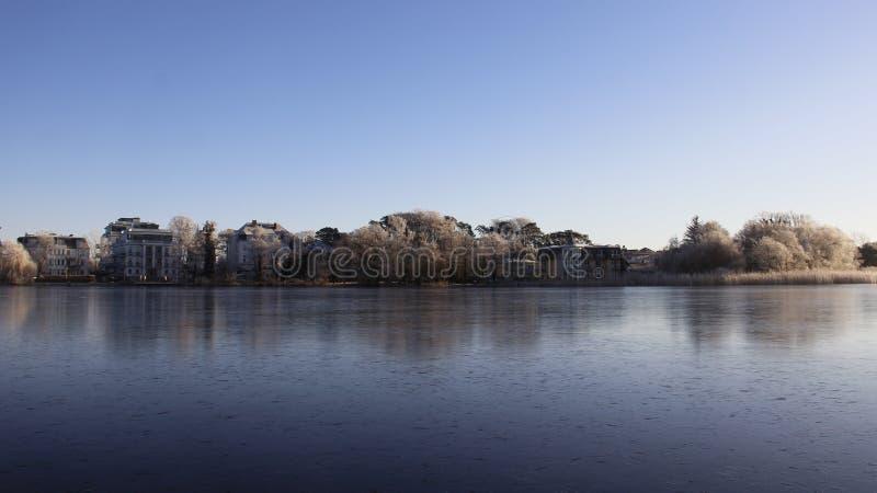Frostiness im Winter Wasser wurde Eis stockbilder