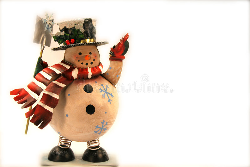 Frosty. Christmas ornament of a snowman on white background royalty free stock photography