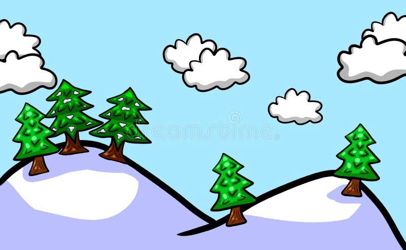 Frosty Cartoon Snowy Forest Background ilustração do vetor