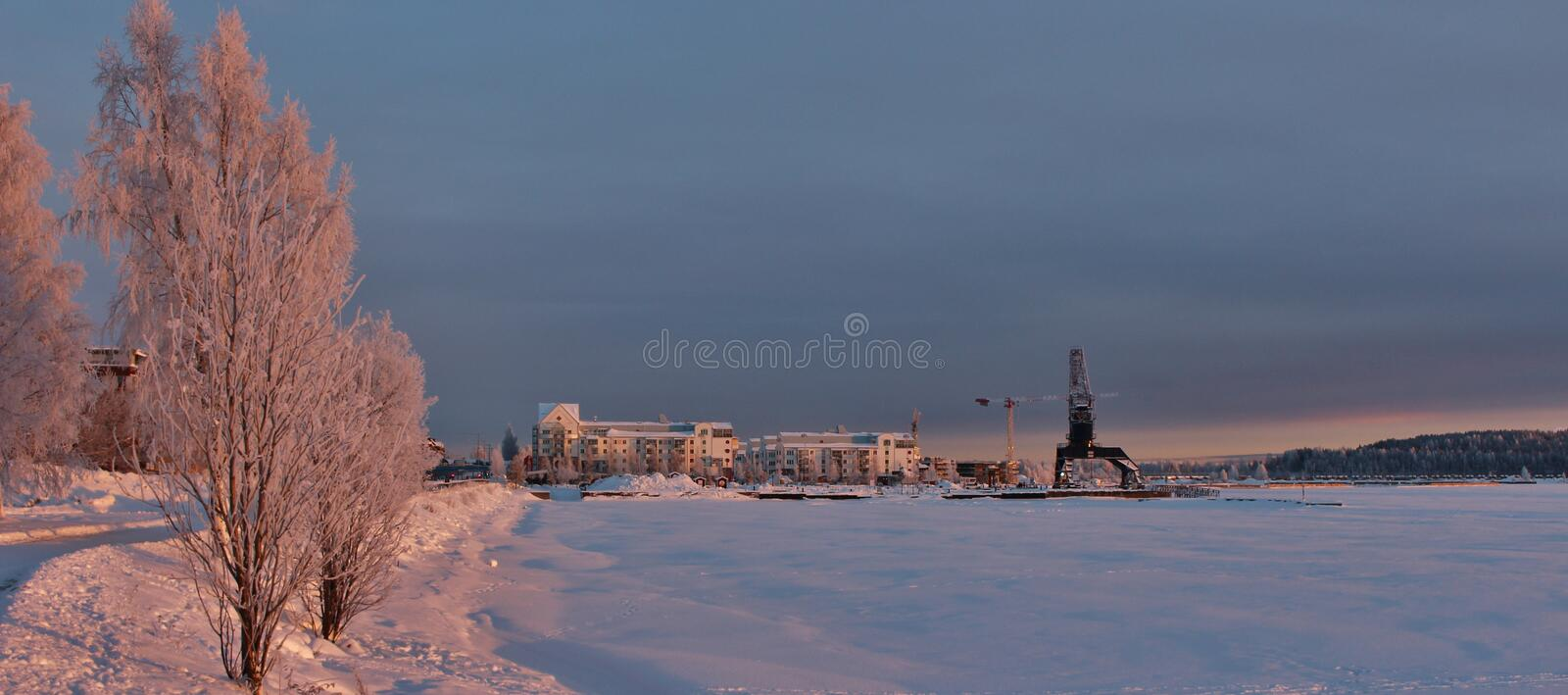A frosty winterday in Luleå. A frosty and chilly but enchanting beautiful december day in Lule royalty free stock images