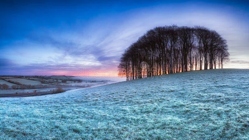 Frosty English Landscape stock photo