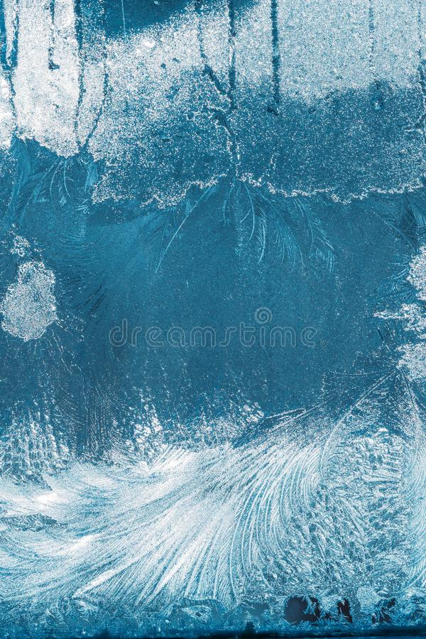 Frosty Glass Ice Background bleu, beaux flocons de neige naturels Frost photographie stock