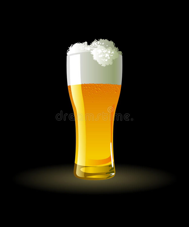 Frosty glass of light beer stock illustration