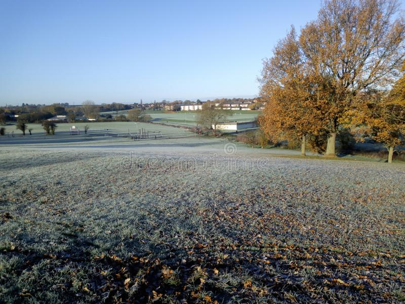 Frosty morning in the city royalty free stock photography