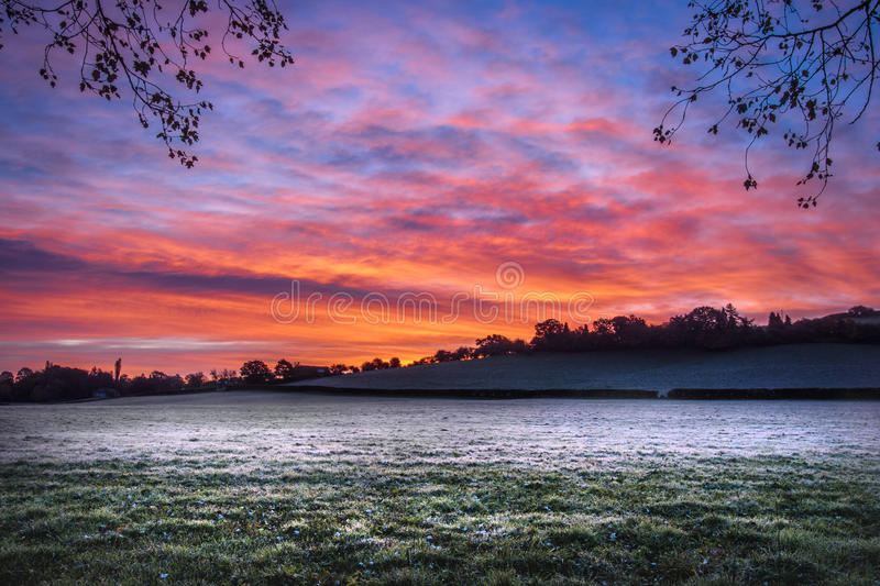 Frosty morning sunrise. In wales stock photo