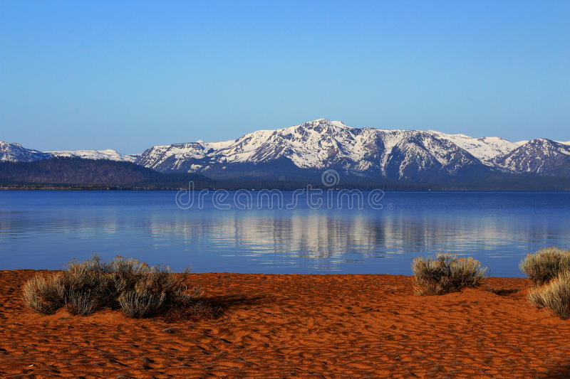 Frosty Morning at Zephyr Cove with Snowy Sierra Nevada, Lake Tahoe, Nevada royalty free stock photography