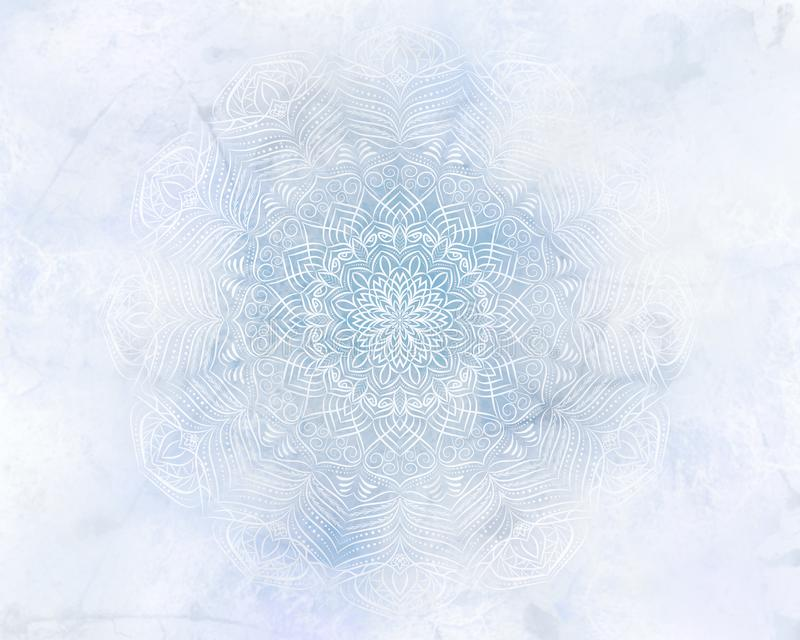 Frosty mystic abstract mandala light blue background. Frosty mandala mystic abstract background in light blue color royalty free stock images