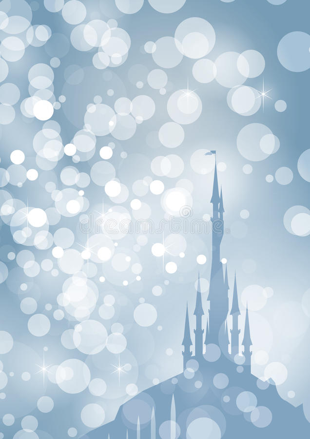 Frosty palace. Silhouette of fairytale palace through frosty sparkles stock illustration
