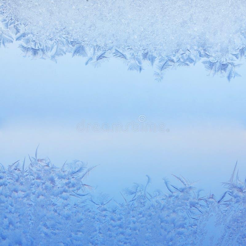Frosty pattern. On winter window stock photos